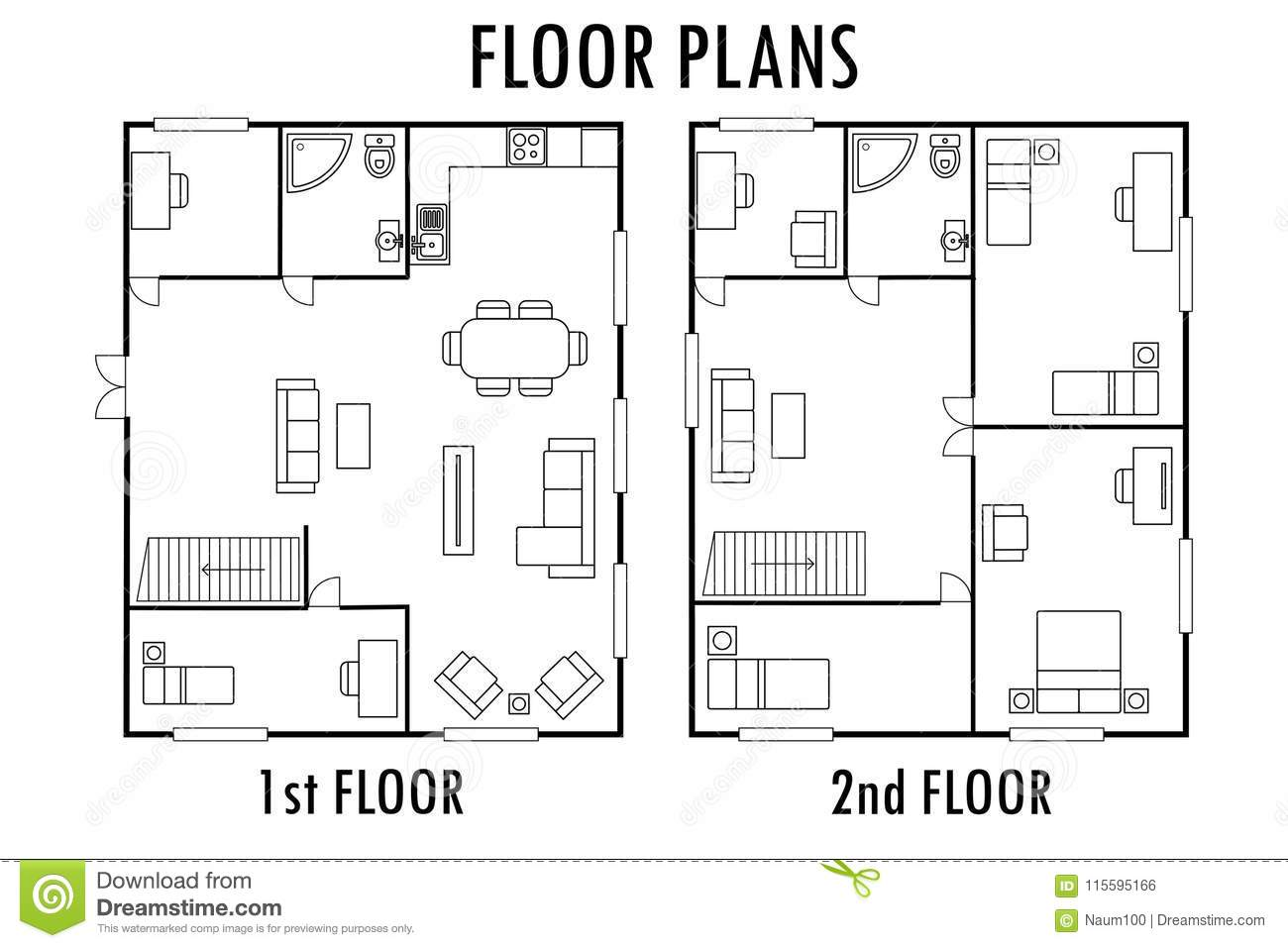 Architecture Plan With Furniture House First And Second