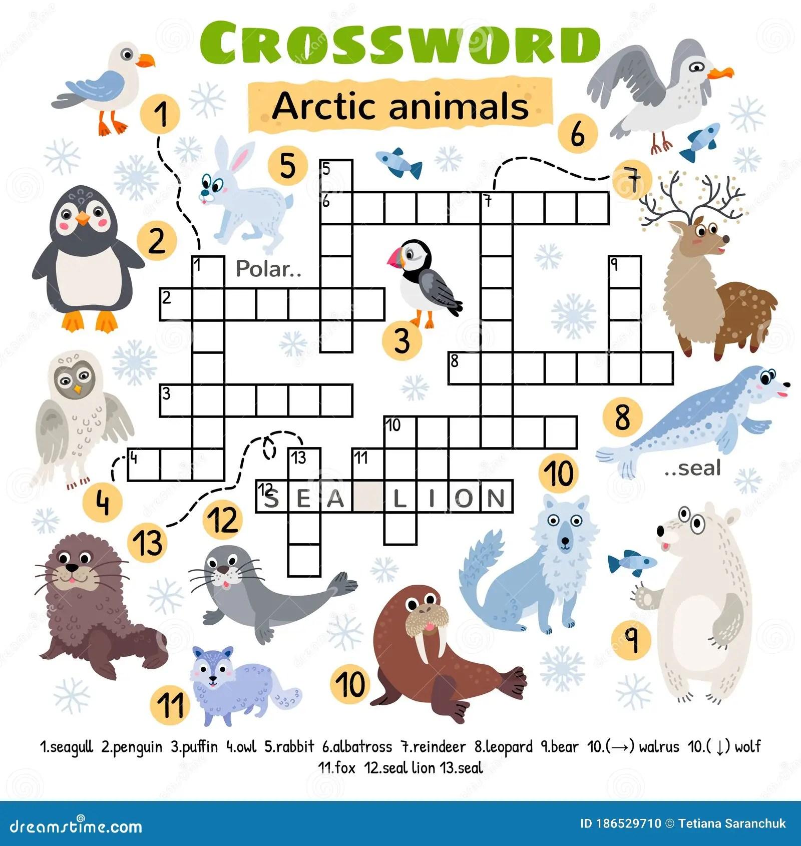 Arctic Animals Crossword Game For Preschool Kids Stock