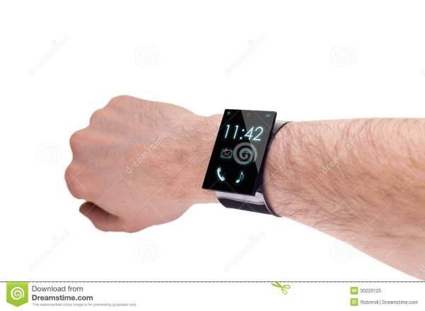 Arm With A Modern Internet Smartwatch, Isolated On White ...