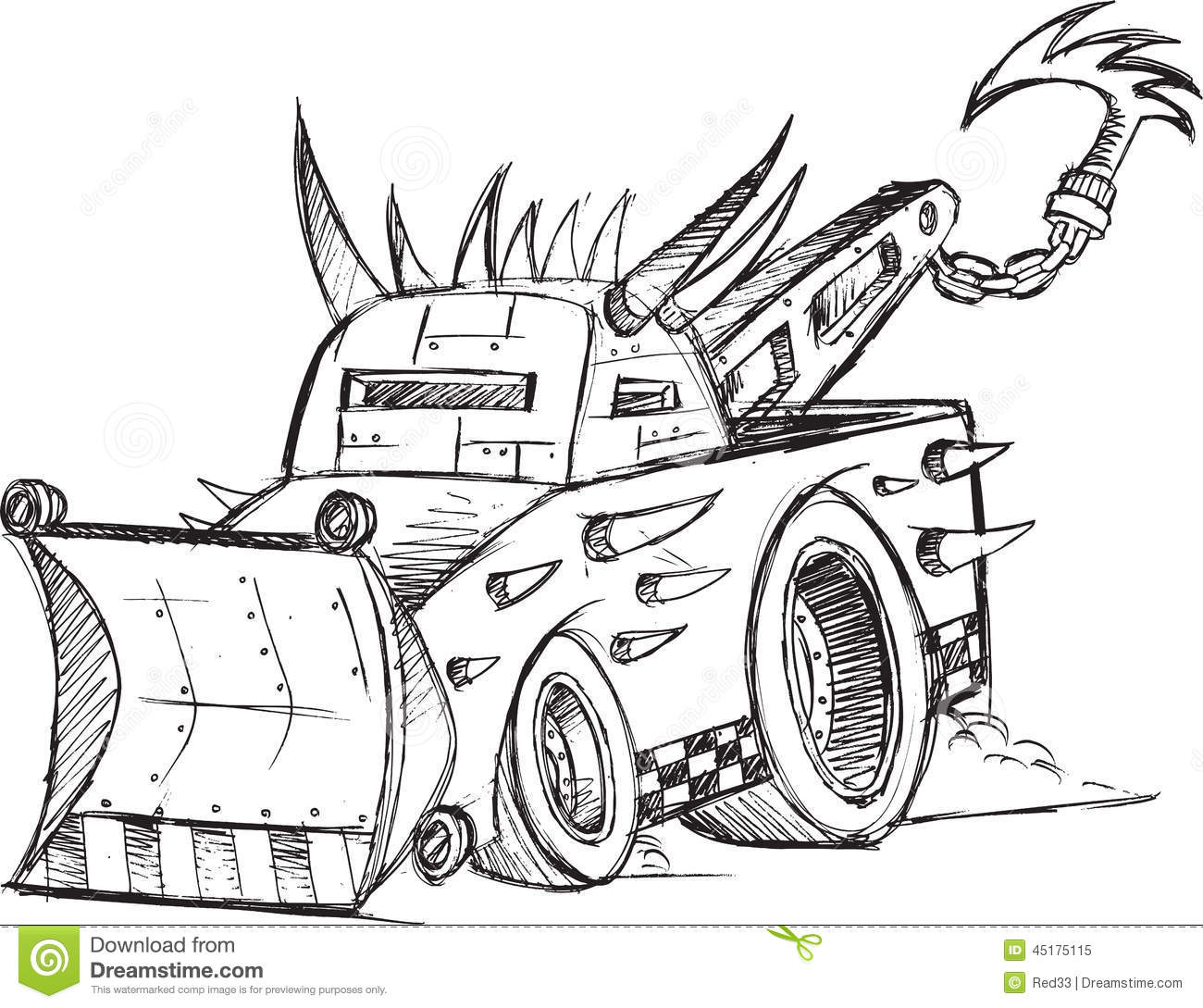 Armored Tow Truck Vehicle Sketch Stock Vector