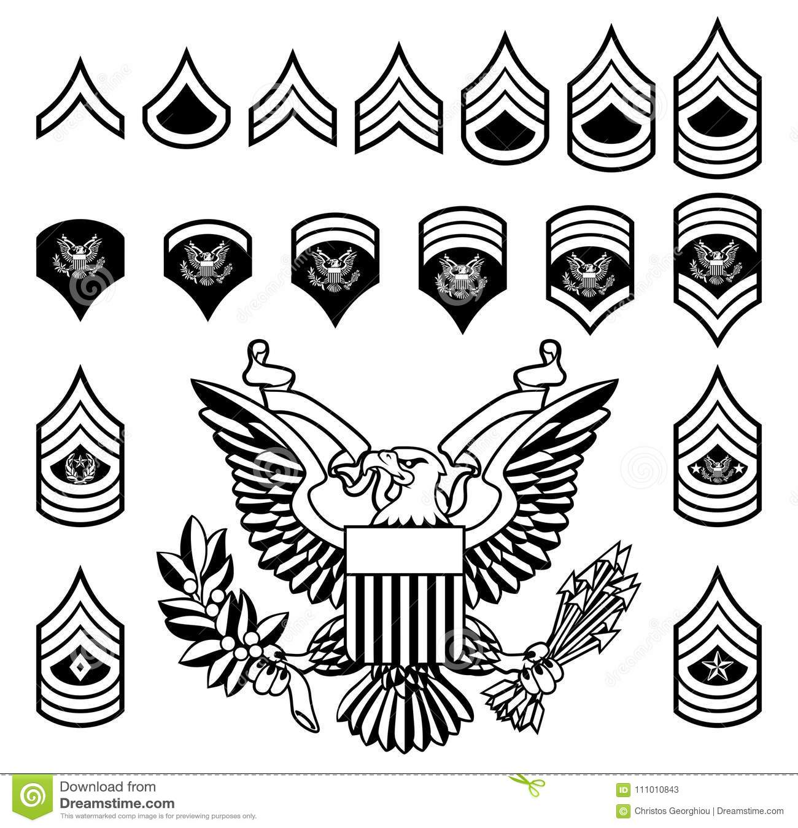 Army Military Rank Insignia Stock Vector
