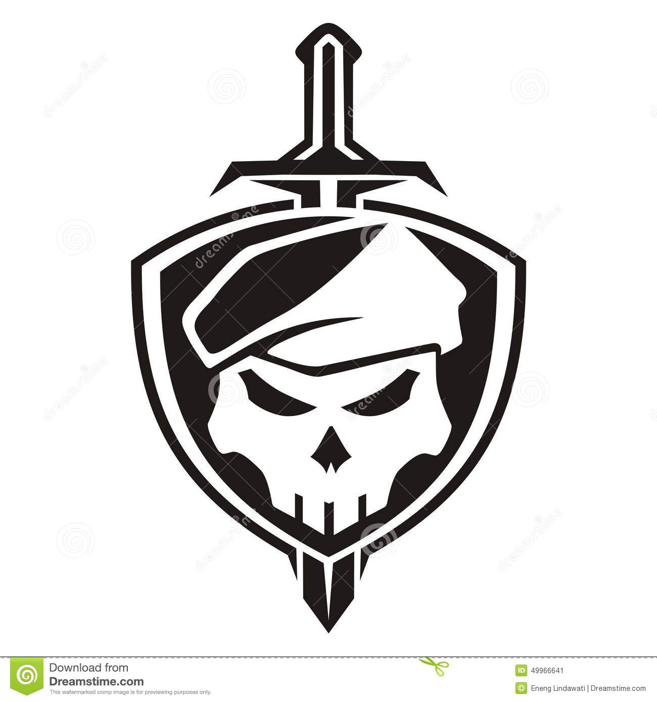 Army Skull Shield Stock Illustration Illustration Of