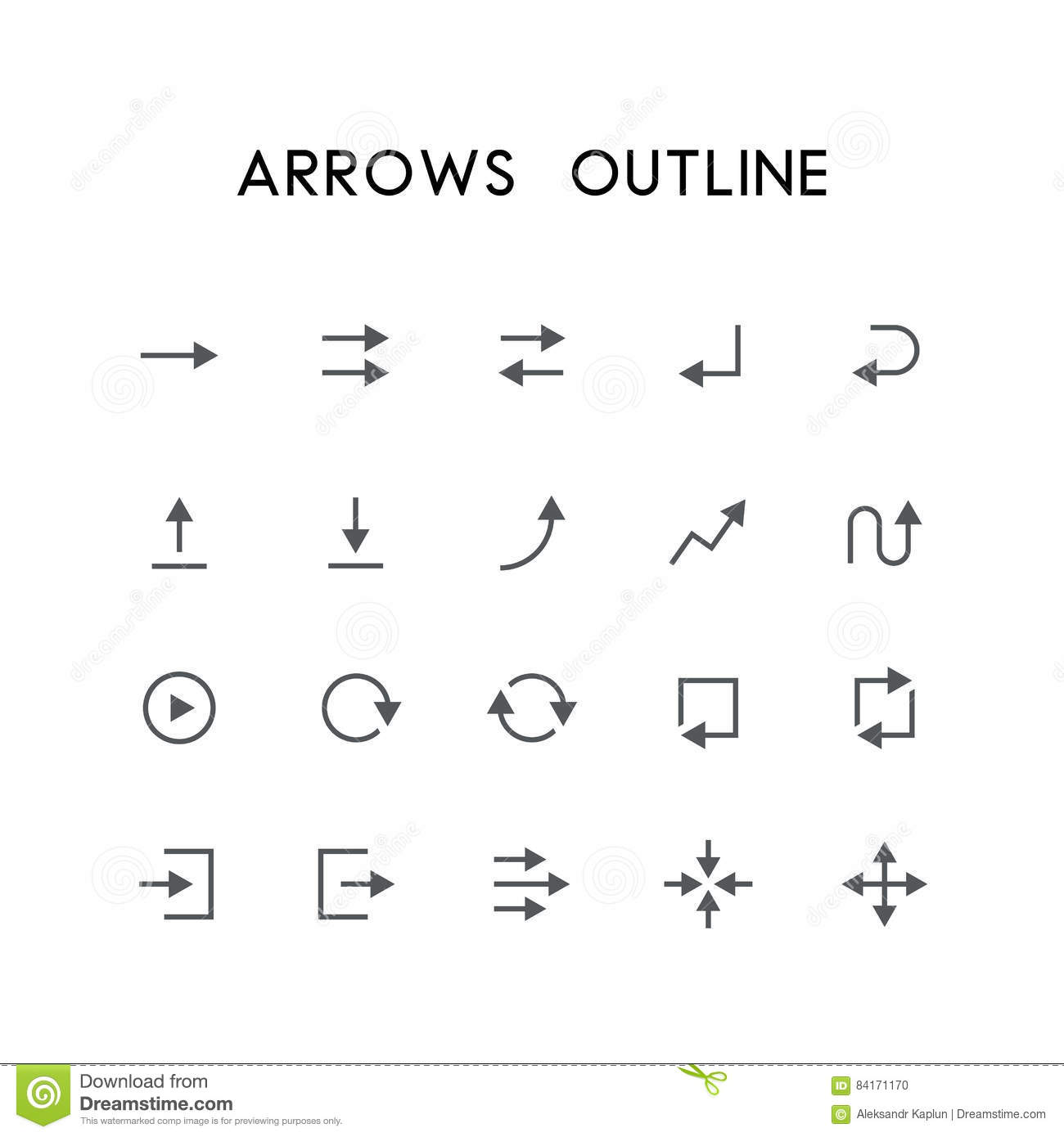 Arrows Outline Icon Set Stock Vector Illustration Of