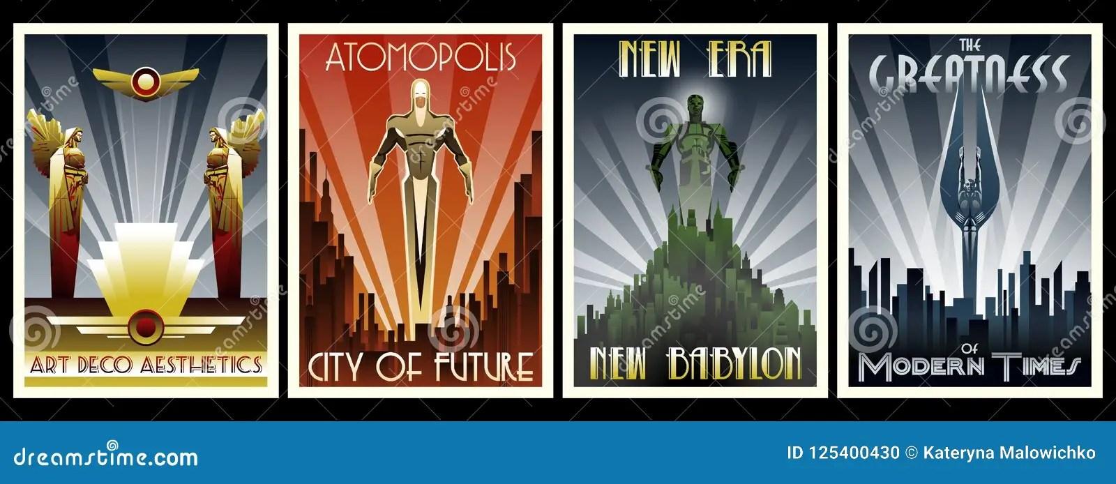 https www dreamstime com art deco style poster set vector aeshttics sculptures roaring twenties image125400430