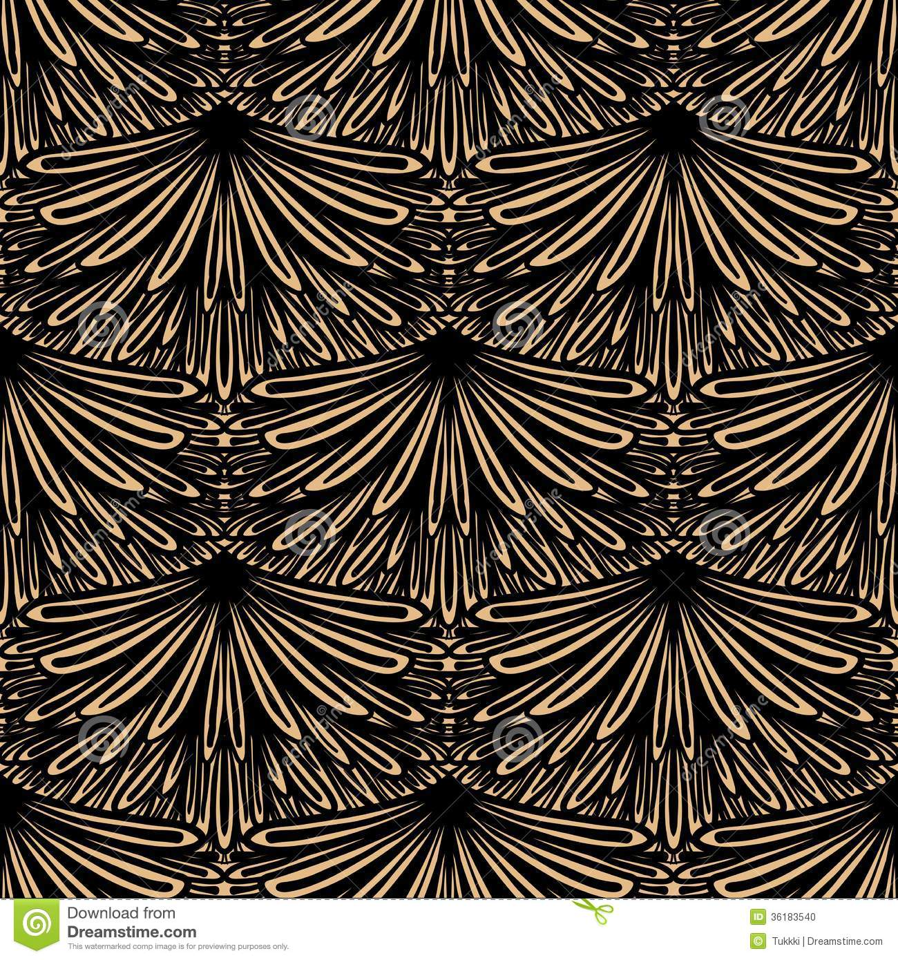 art deco vector floral pattern stock photo - image: 36183540