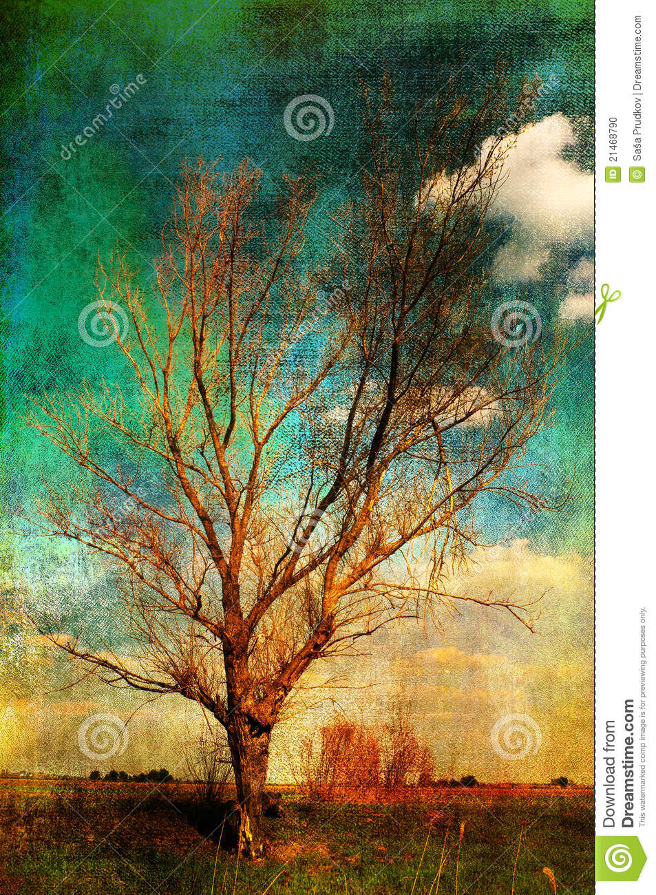 Art Grunge Landscape Lonely Tree On The Meadow Stock