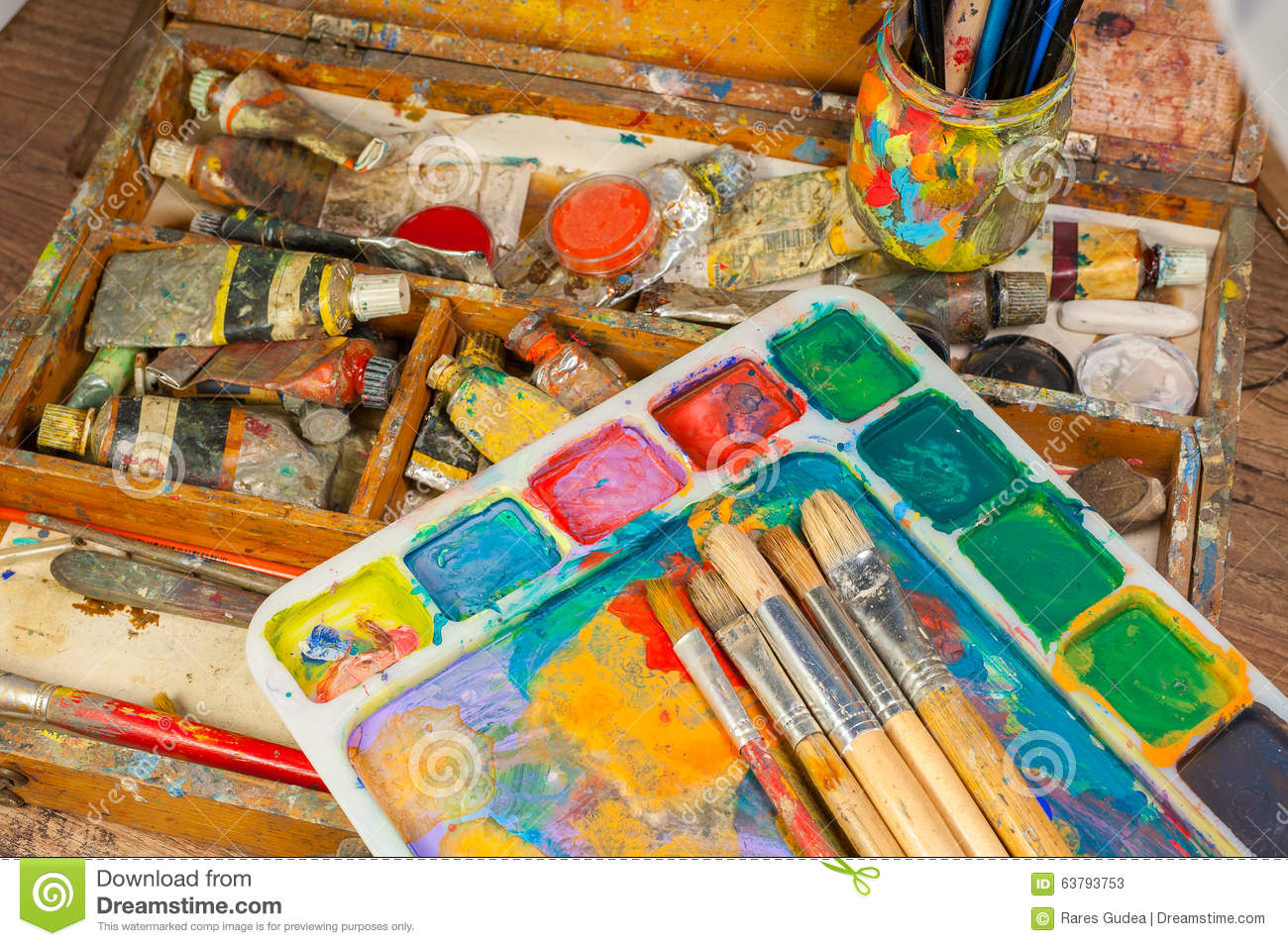 Art Supplies And Painting Art Brushes Stock Image
