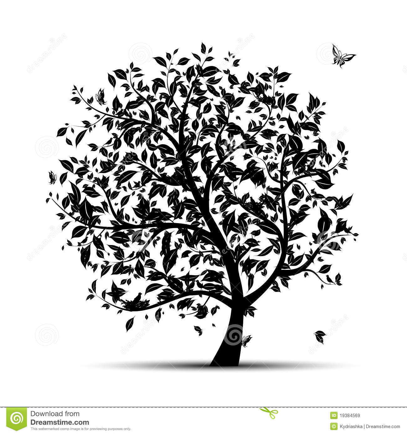 Art Tree Black Silhouette Royalty Free Stock Images