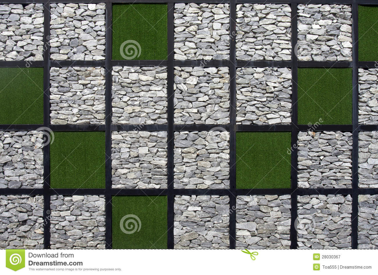 Artificial Grass And Stone Pattern Wall Stock Image