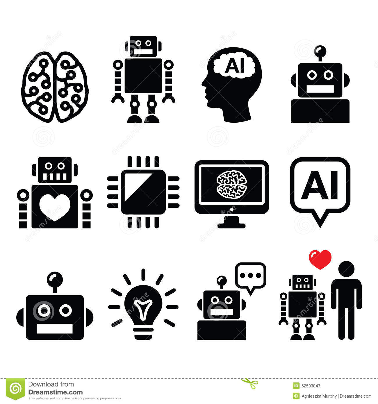 Artificial Intelligence Ai Robot Icons Set Stock