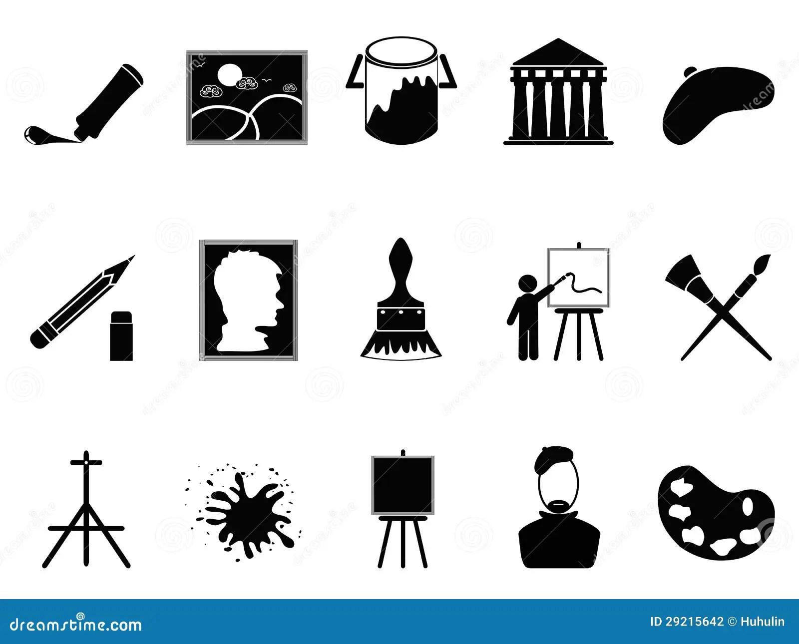 Artist Icons Set Stock Vector Illustration Of Craft