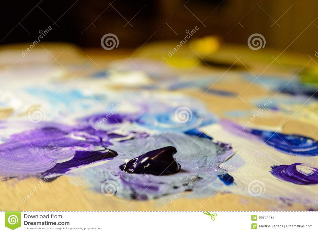 Artist Painting With Acrylic Colors And Mixing Tones Stock