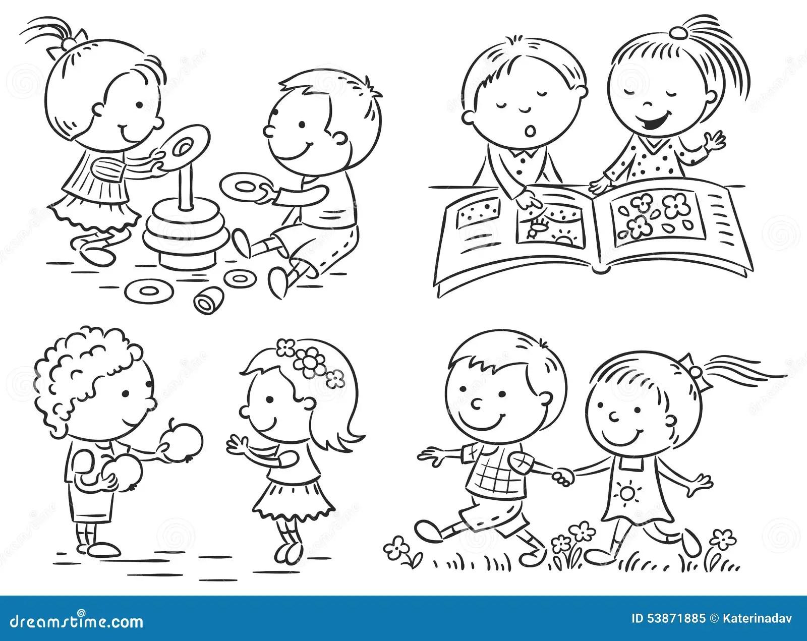 As Atividades Das Criancas Ajustadas Preto E Branco