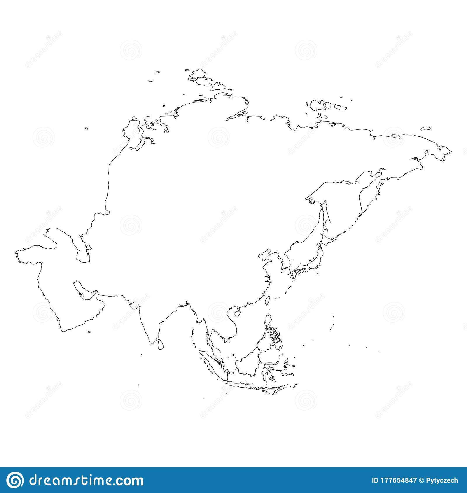 Asia Thin Black Outline Map Contour Map Of Continent