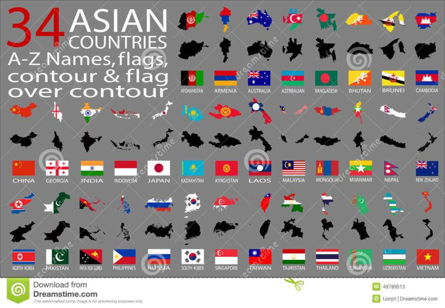 34 Asian Countries   A Z Names  Flags  Contour And Map Over Contour     Download 34 Asian Countries   A Z Names  Flags  Contour And Map Over  Contour Stock