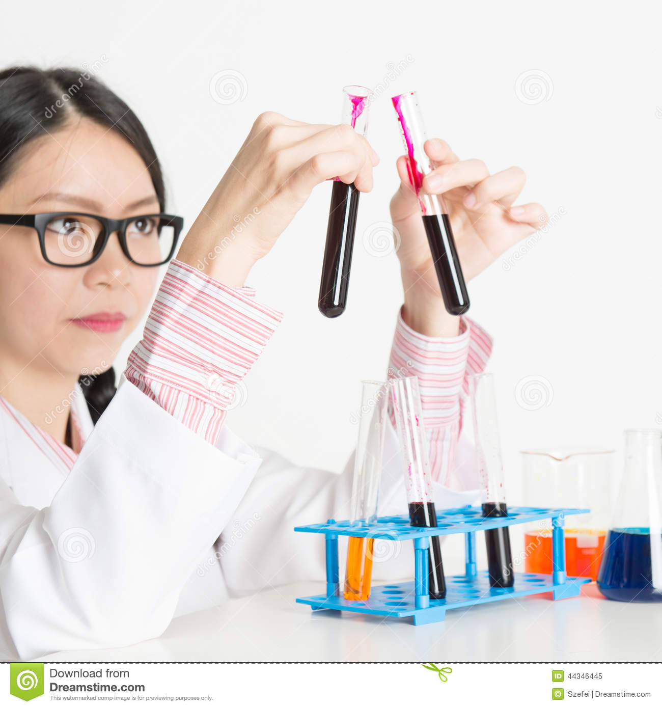 Asian Lab Worker Doing Blood Test Stock Image