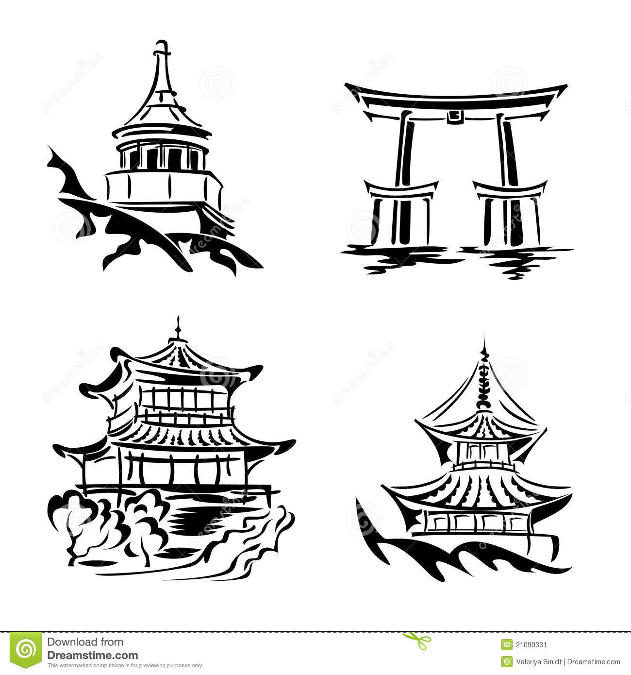 Asian Temple Stock Vector Illustration Of Symbol Asian