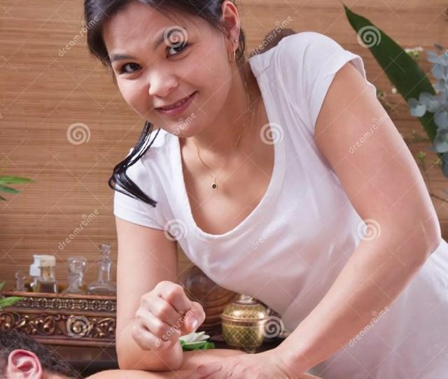 Asian Woman Making Massage To A Man