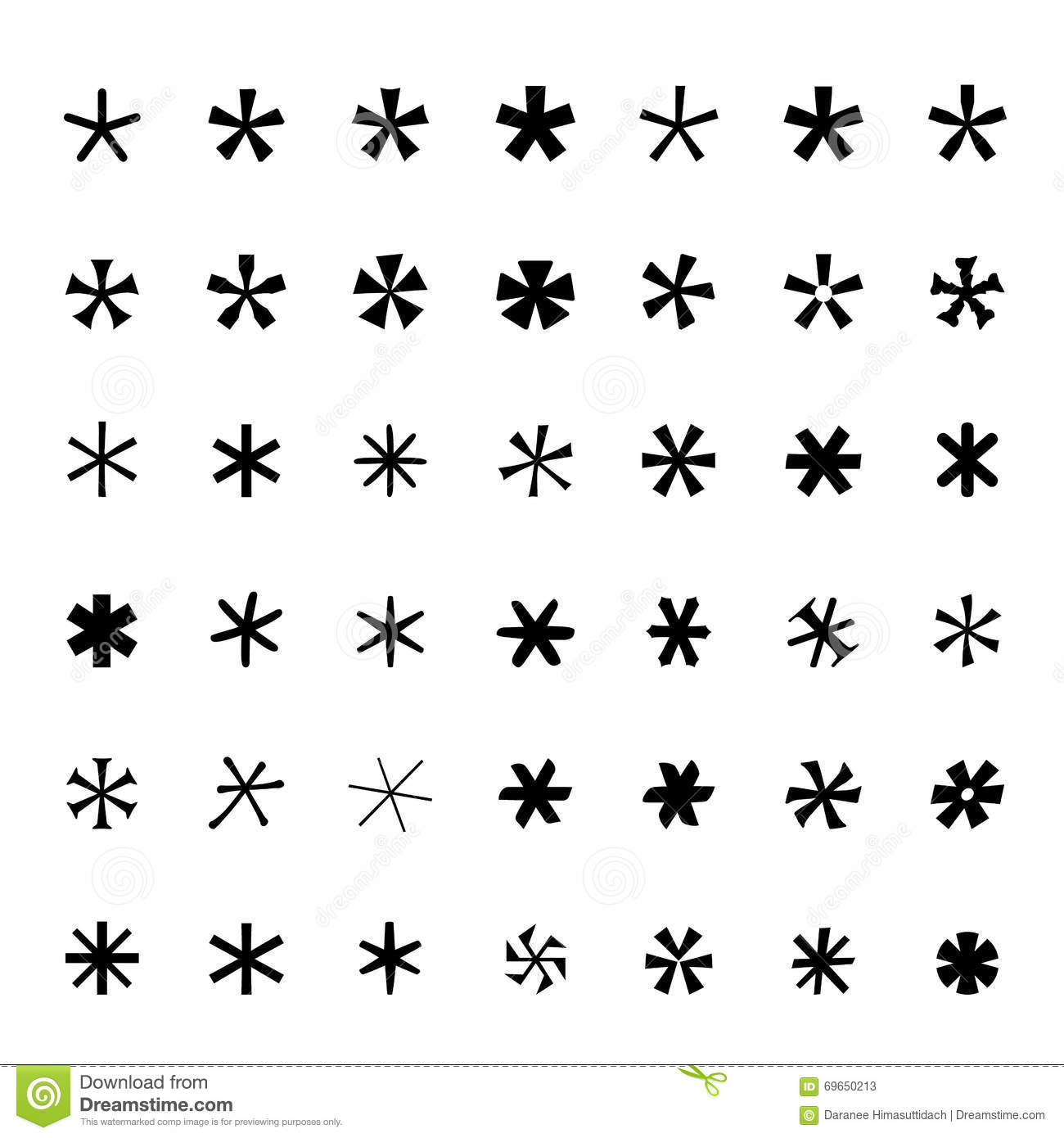 Asterisk Footnote Star Icons Set Black Icons Vector