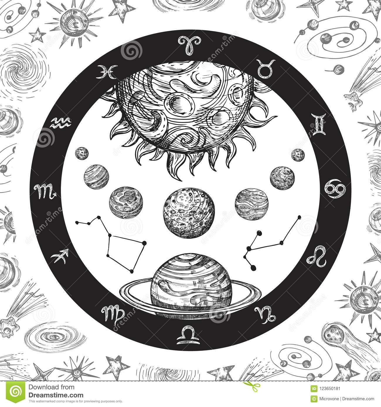 Astrology Concept With Planets Hand Drawn Universe