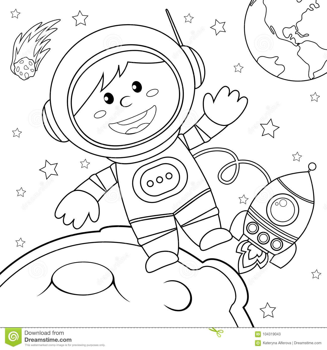 Astronaut In Space Black And White Vector Illustration