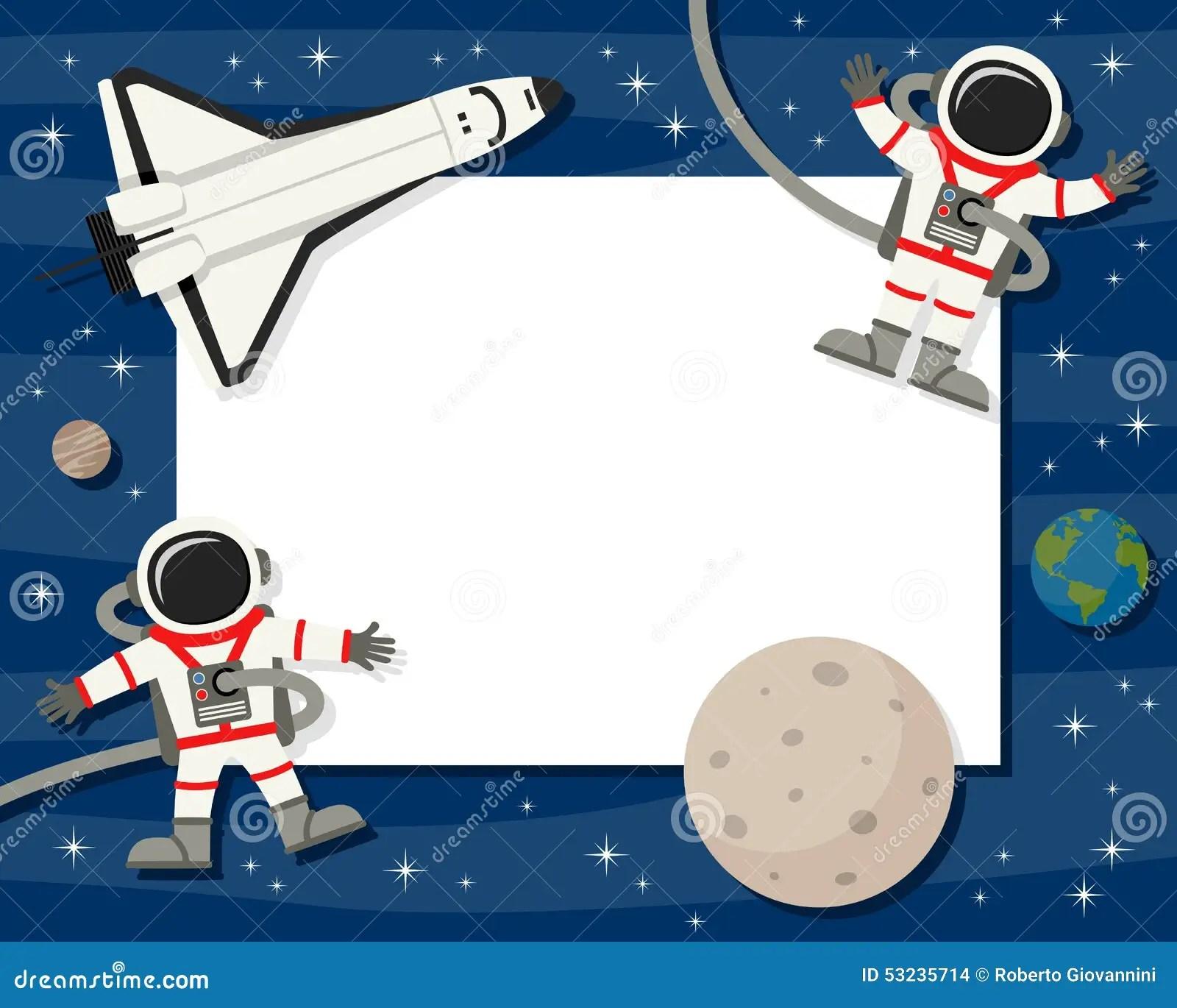 Astronauts Amp Shuttle Horizontal Frame Stock Vector