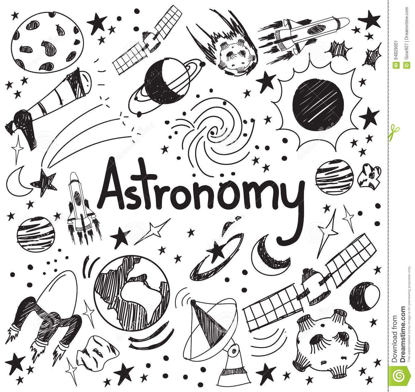 Astronomy Science Theory And Drawing Doodle Handwriting Icon Of Cartoon Vector