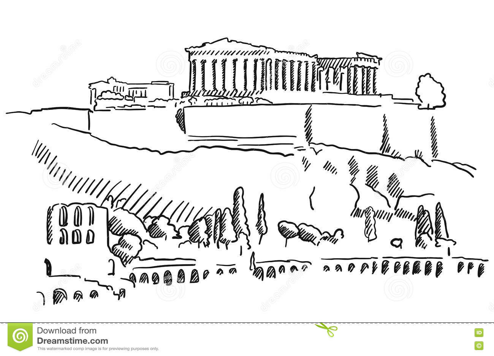 Greece Parthenon Sketch Vector Illustration