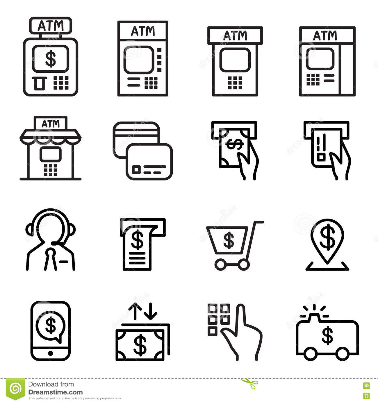 Atm Icon Set Cartoon Vector