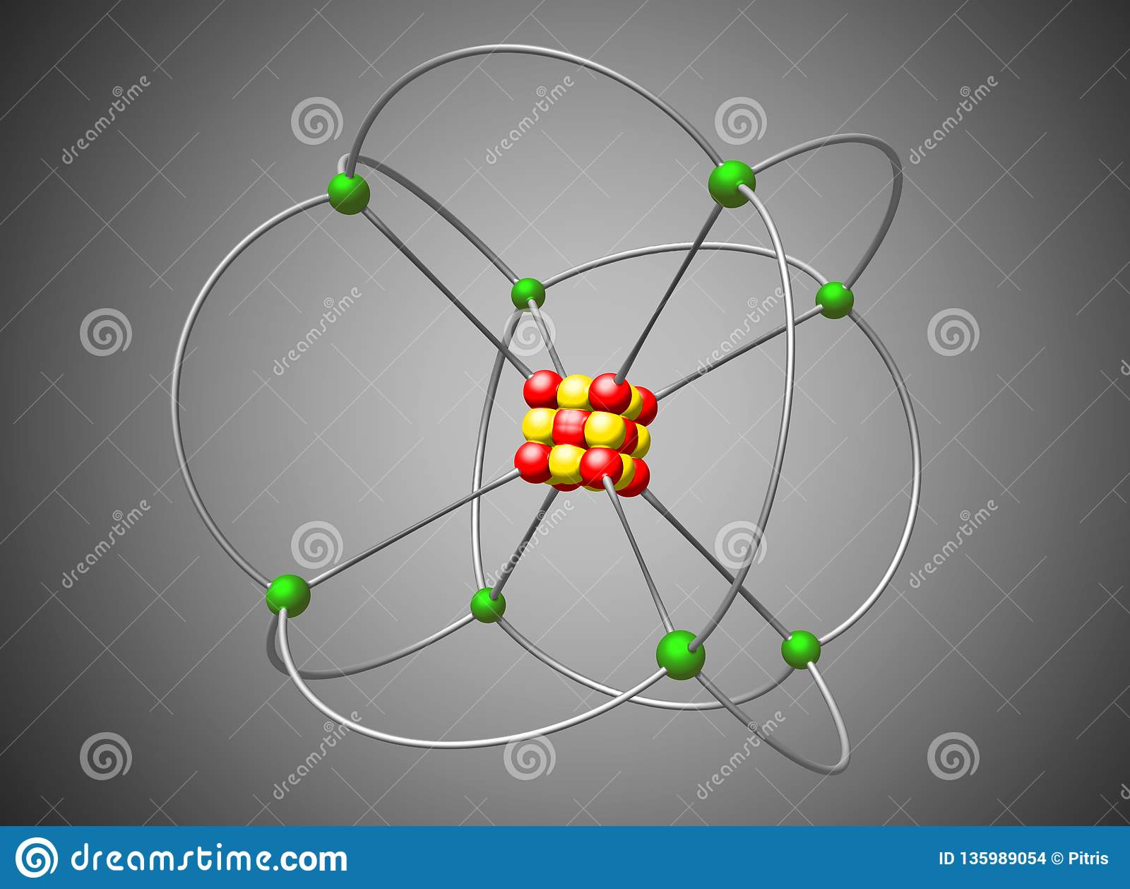 Atom Nuclear Model Abstract Atom Structure Illustration