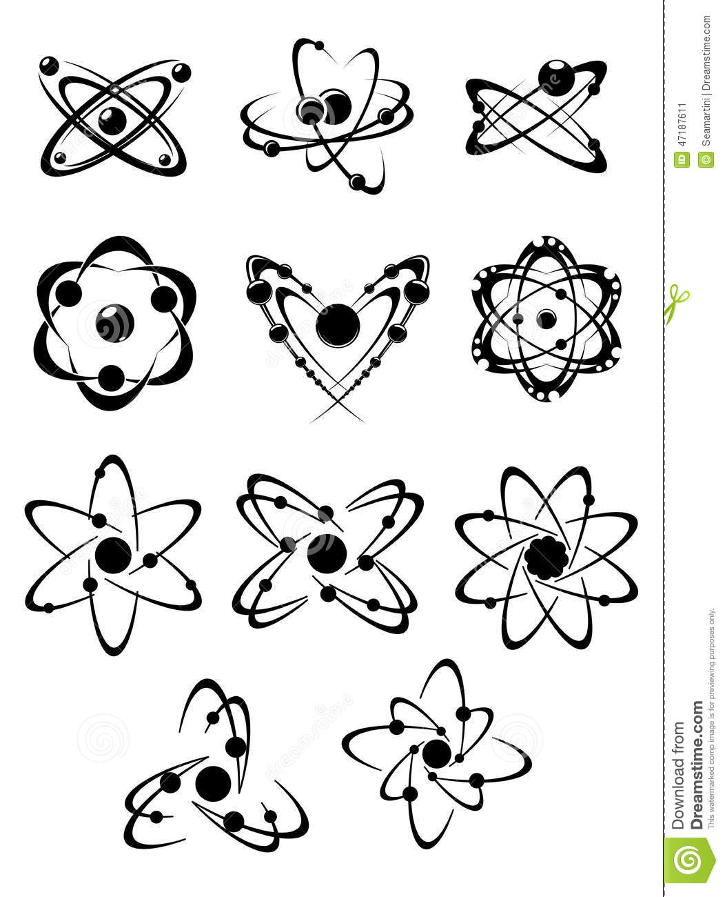 Atoms Or Molecules Symbols Stock Vector Image Of Design