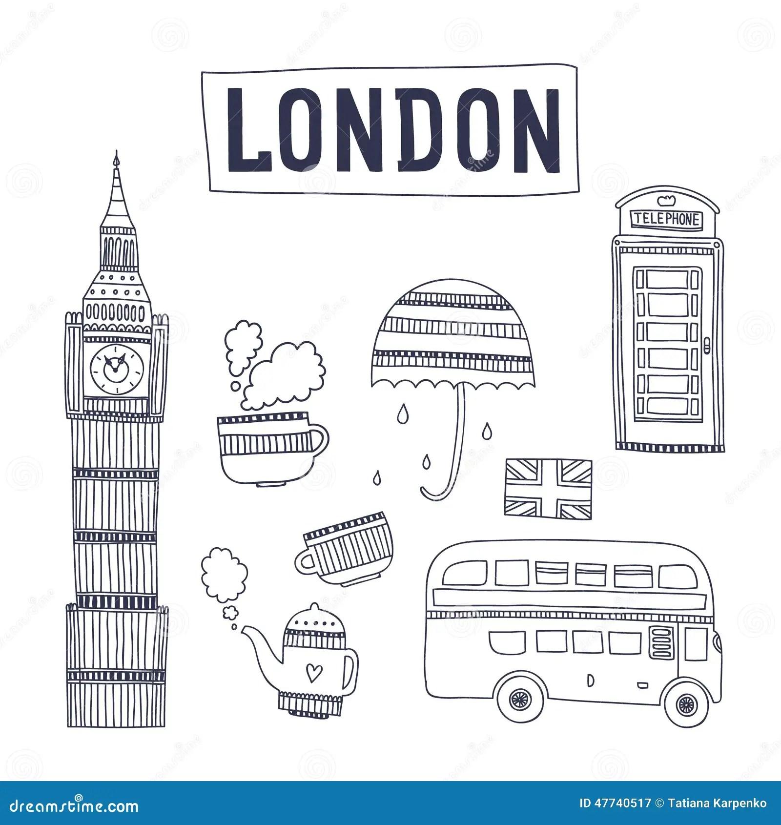 Atracciones Y Simbolos Del Turismo De Londres Del Vector Ilustracion Del Vector
