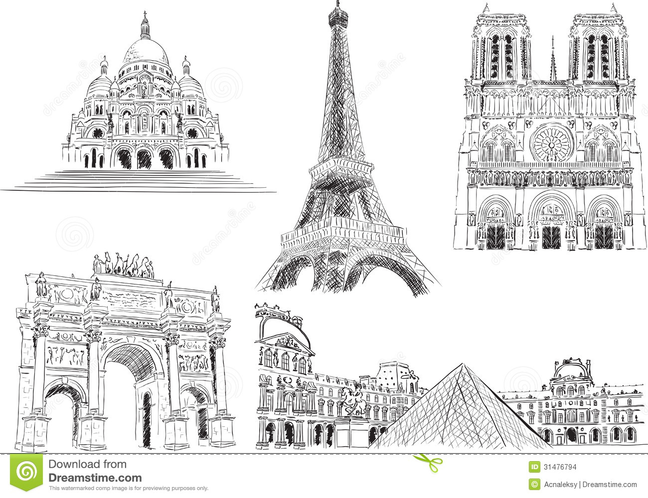 Attractions Of Paris France Stock Vector