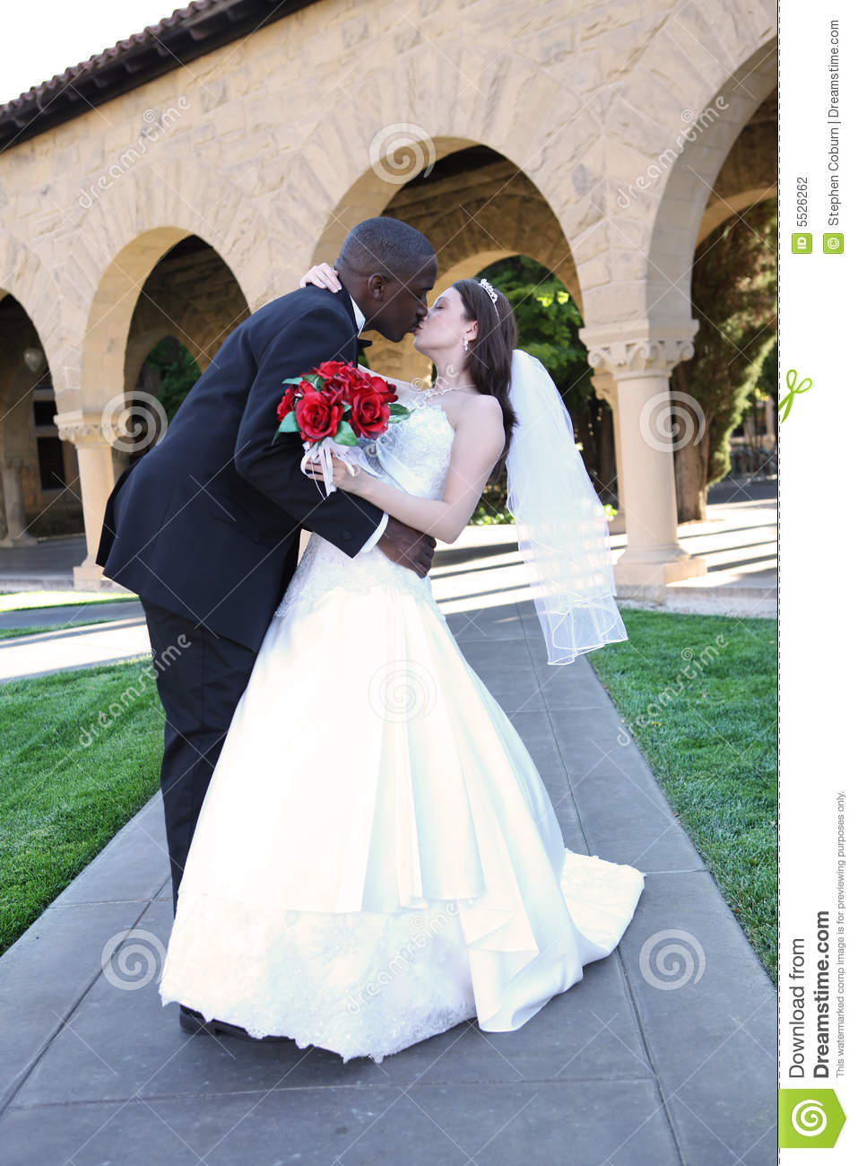 Attractive Interracial Wedding Couple Kissing Stock Photography Image 5526262