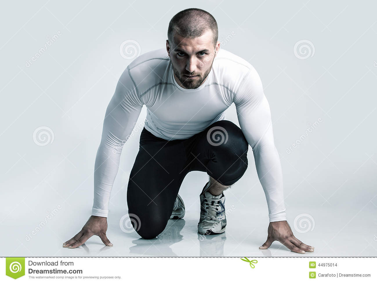 Attractive Runner In Starting Position Stock Photo Image