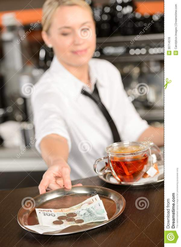 Attractive Waitress Taking Tip In Bar CZK Royalty Free ...