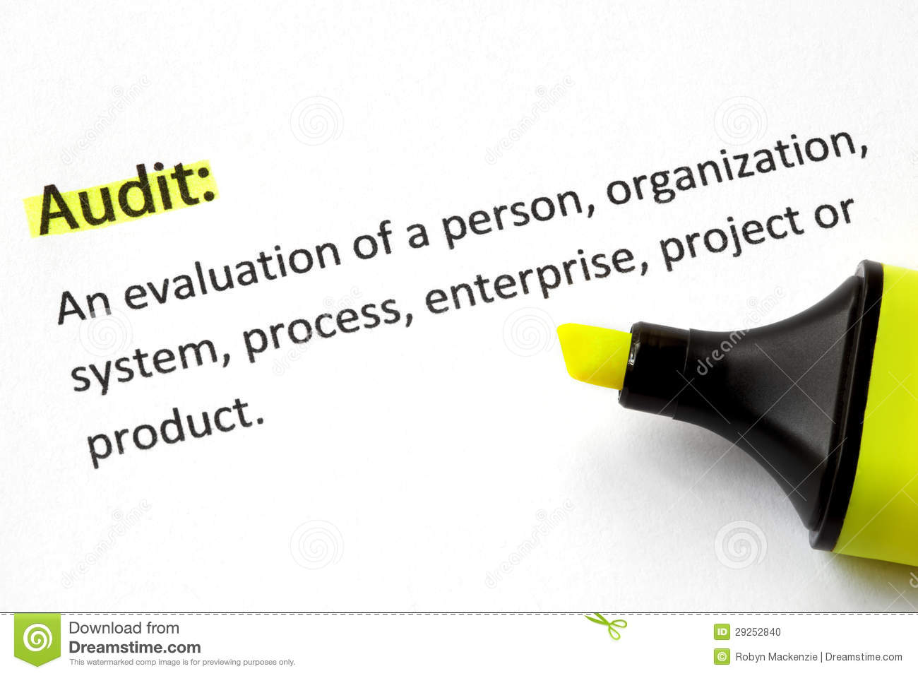 In the planning phase, they define exactly what will be audited and what information is needed for the job. Audit Definition Stock Photo - Image: 29252840