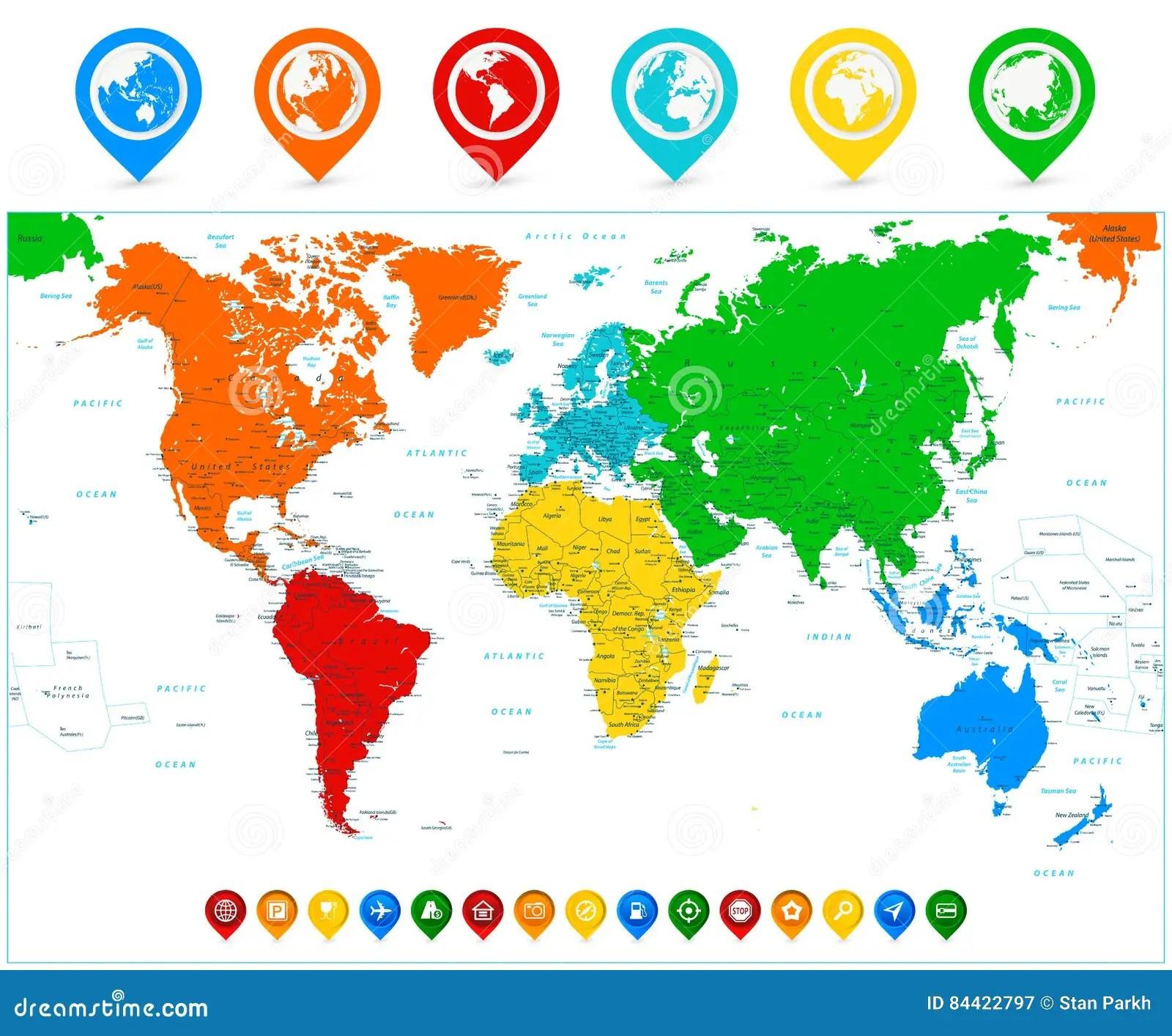 Ausfuhrliche Vektor Weltkarte Mit Bunten Kontinenten Und