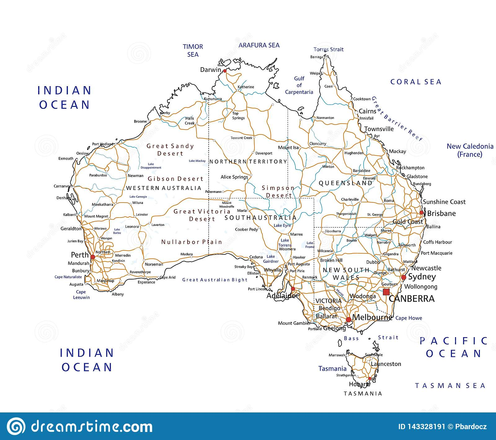 High Detailed Australia Road Map With Labeling Stock