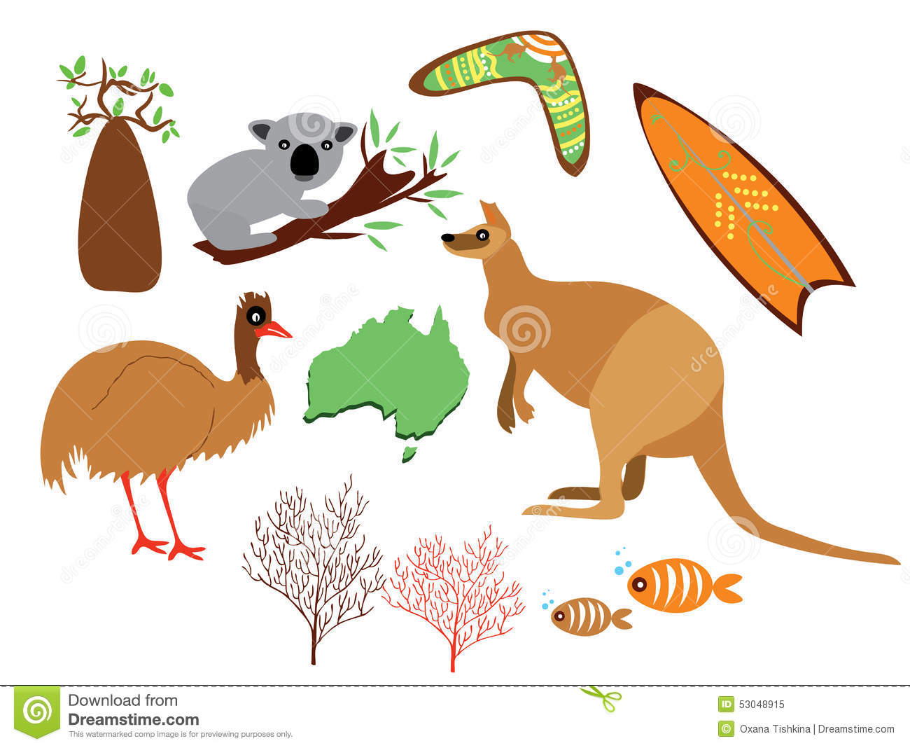 Australia Set Stock Vector Image Of Card Decor Colors