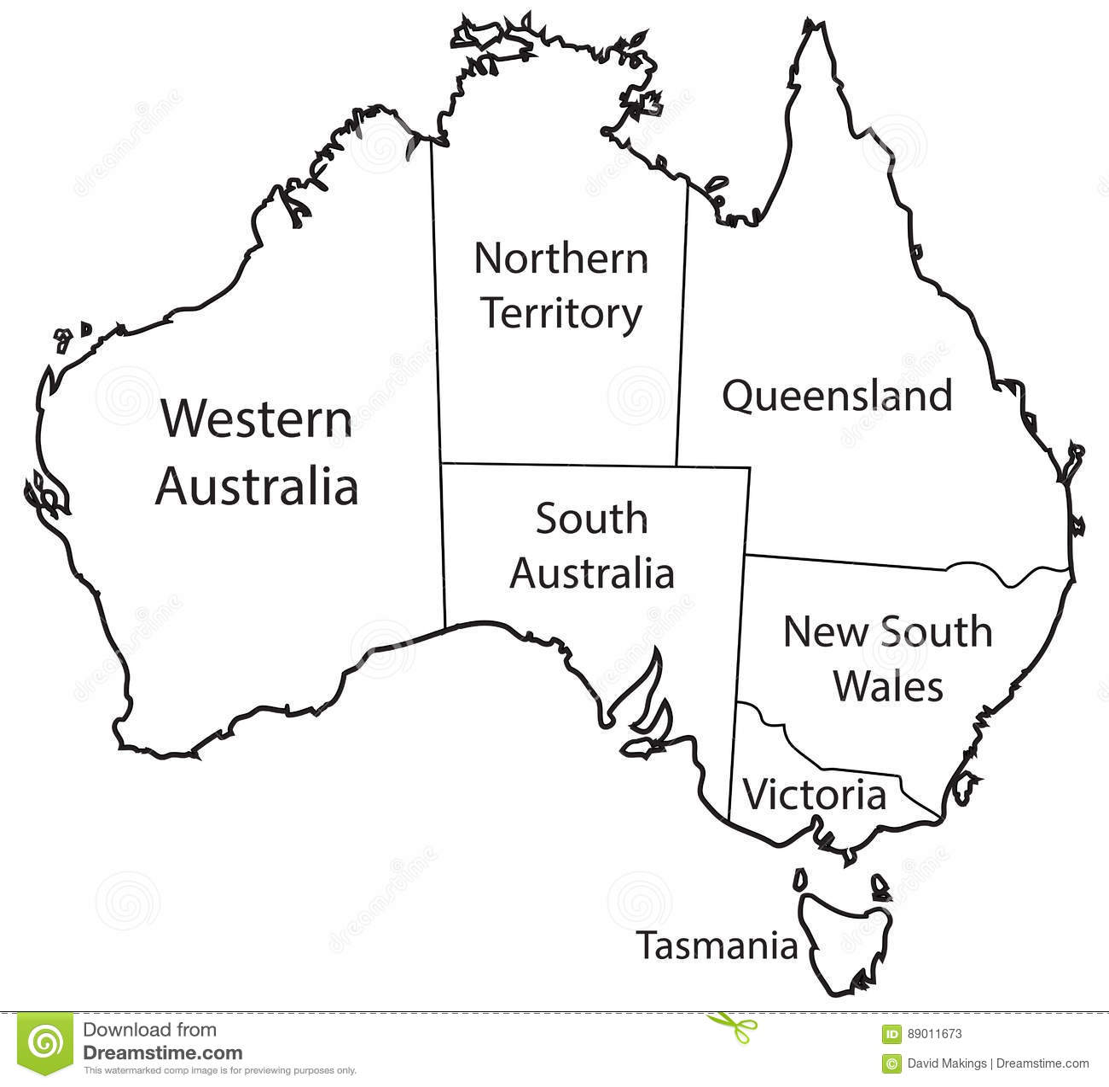Australia Territories Outline Stock Illustration