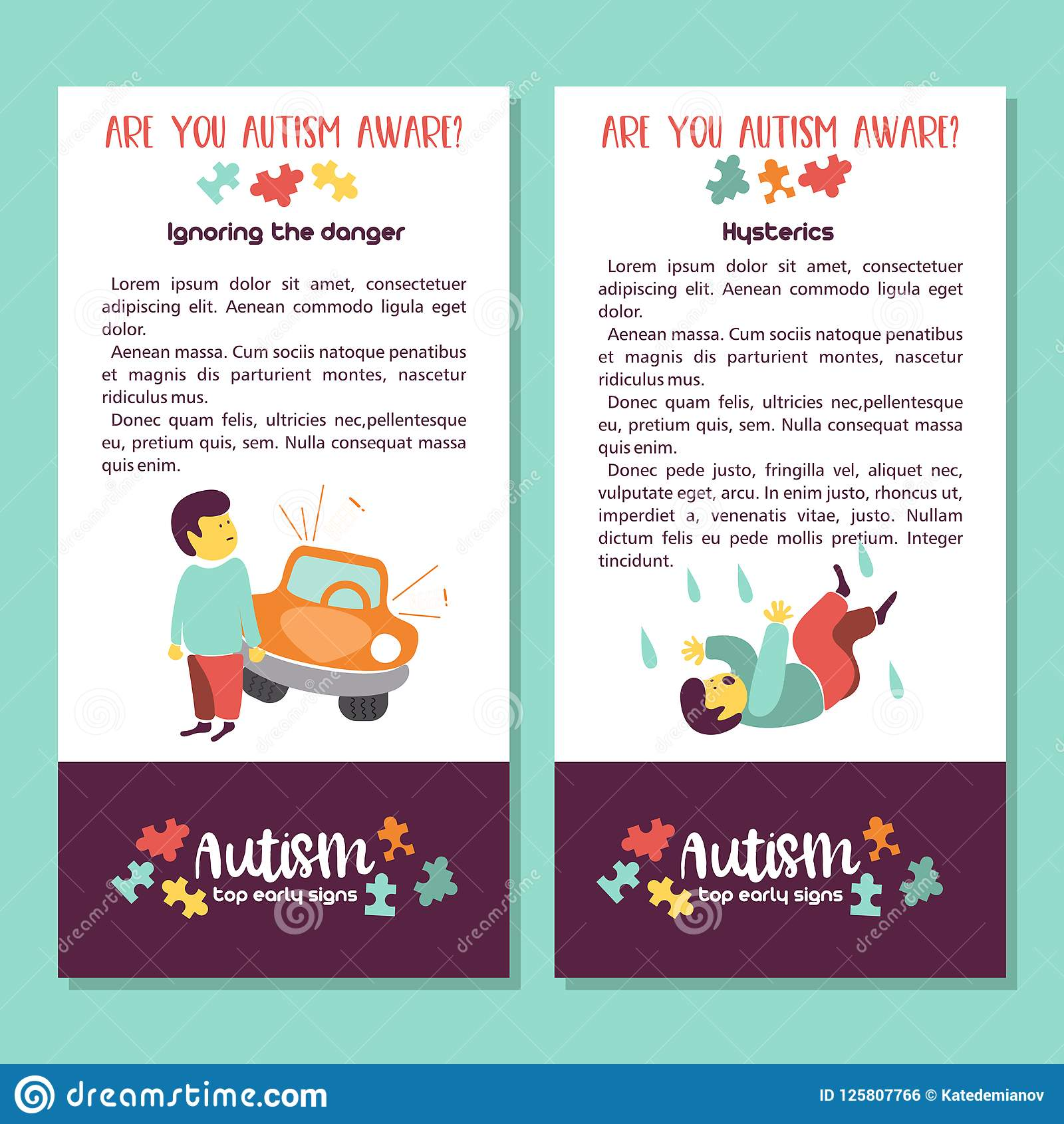 Autism Early Signs Of Autism Syndrome In Children Vector