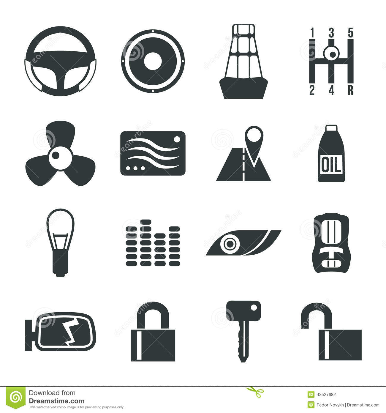 Auto Accessories Icons Set Stock Vector Illustration Of