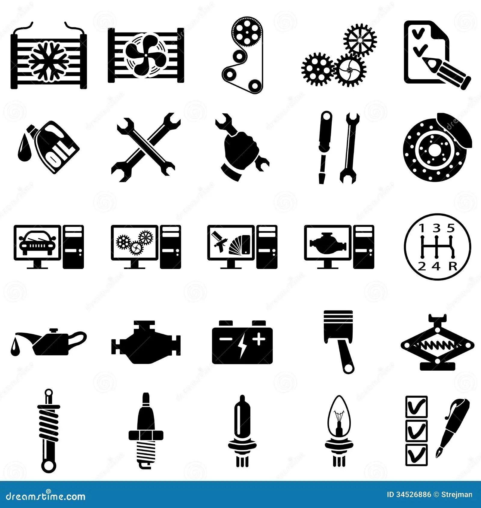 Auto Repair Icons Stock Vector Illustration Of Repair