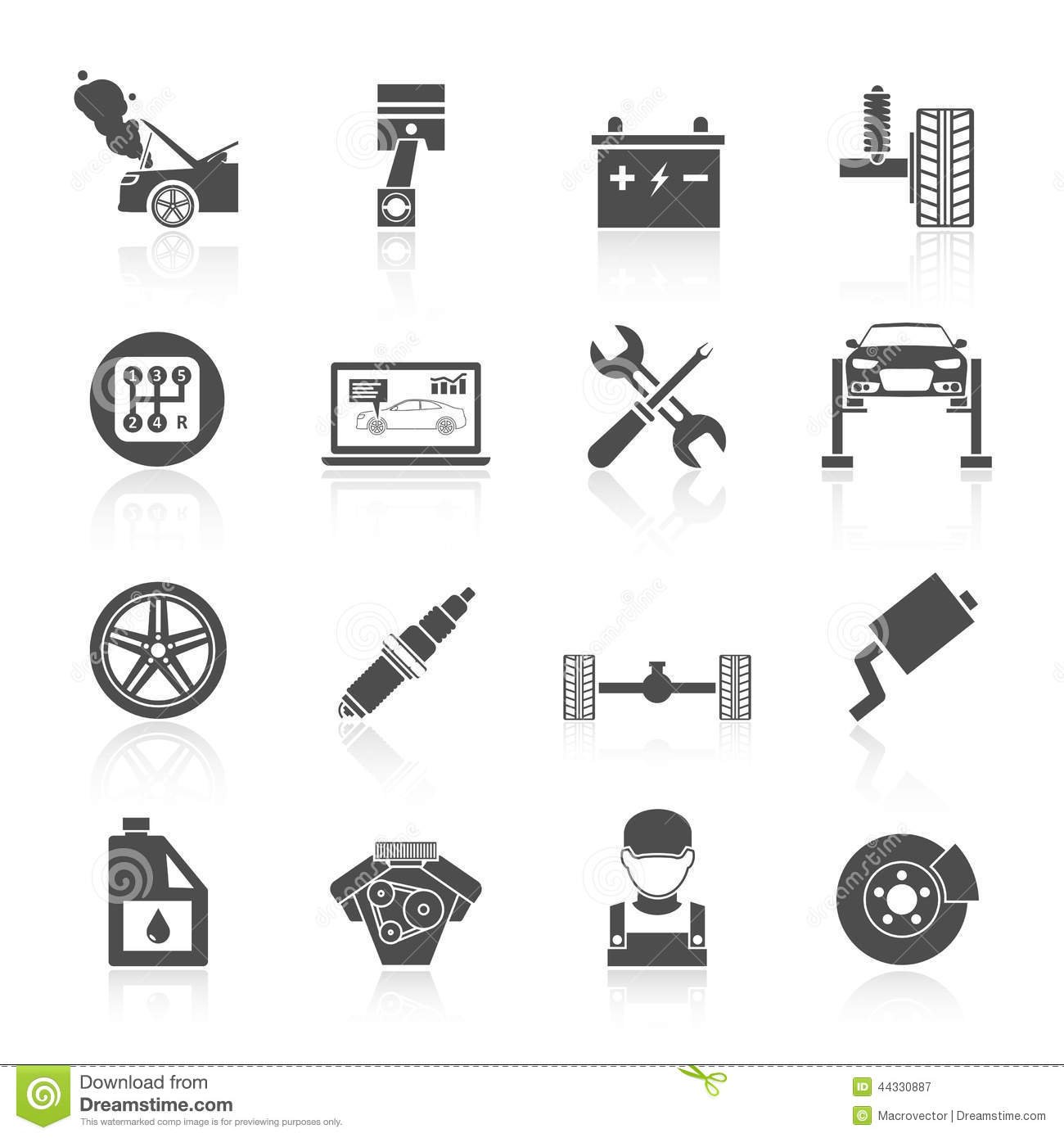 Auto Service Icons Stock Vector Illustration Of Change