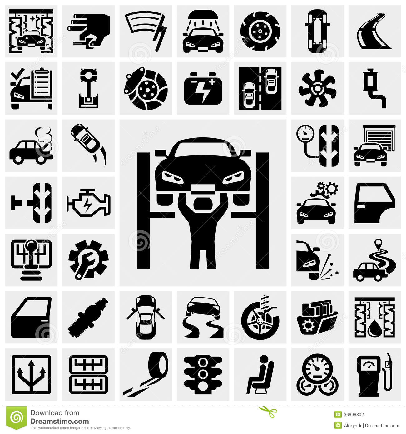 Auto Vector Icons Set On Gray Stock Vector Illustration