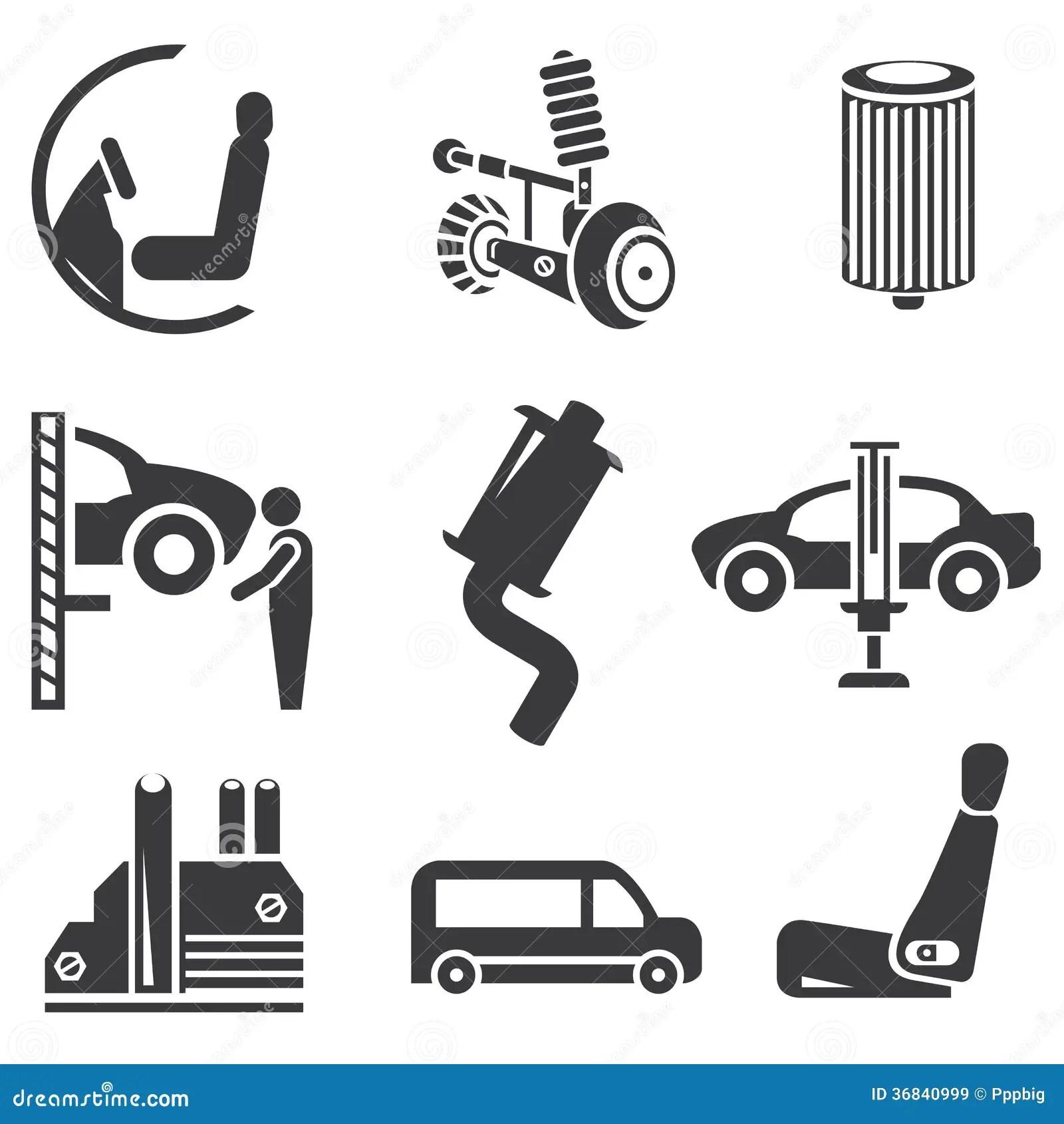 Automobielpictogrammen Stock Illustratie Illustratie