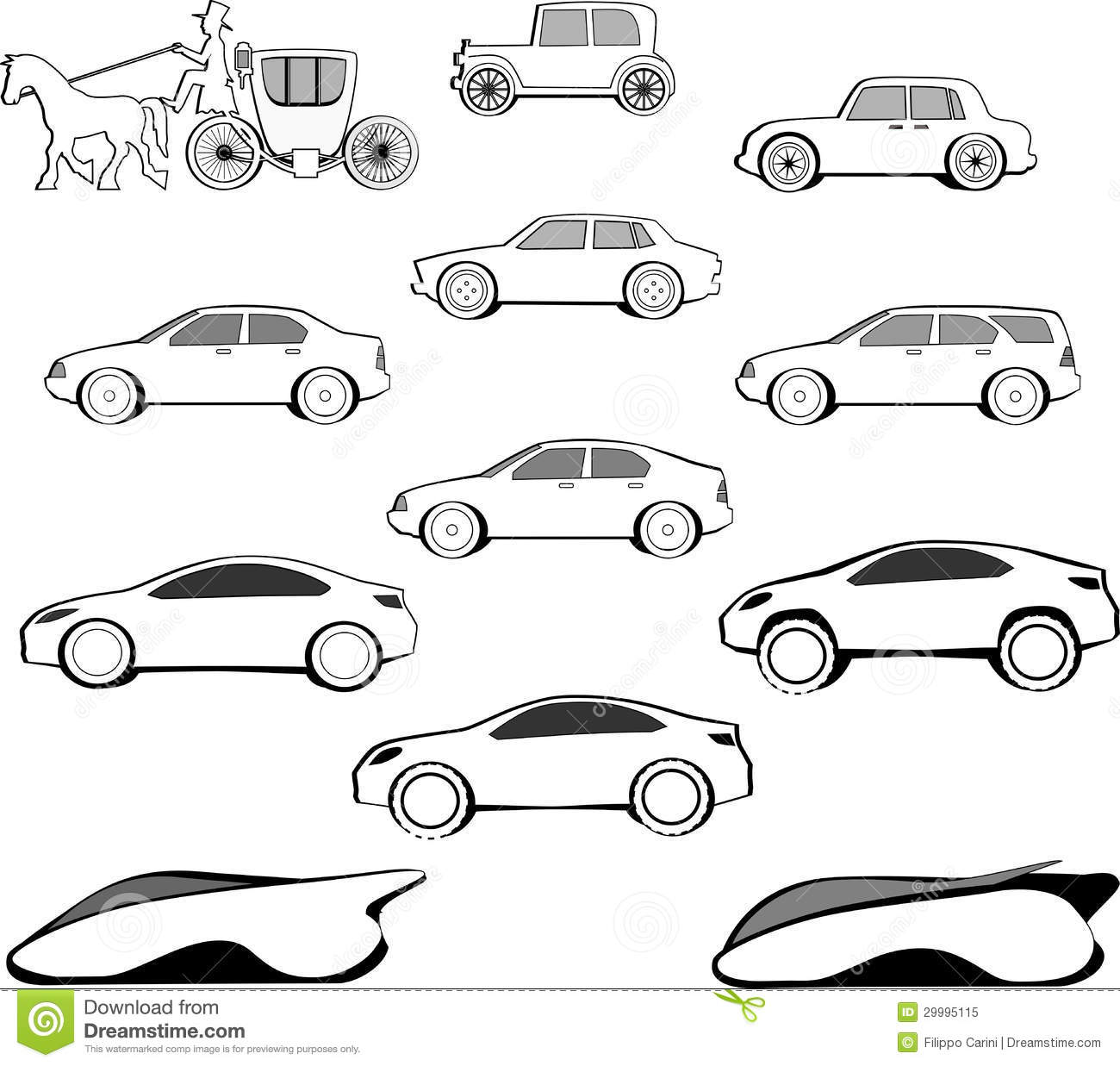 Century Car Evolution Stock Illustration Illustration Of