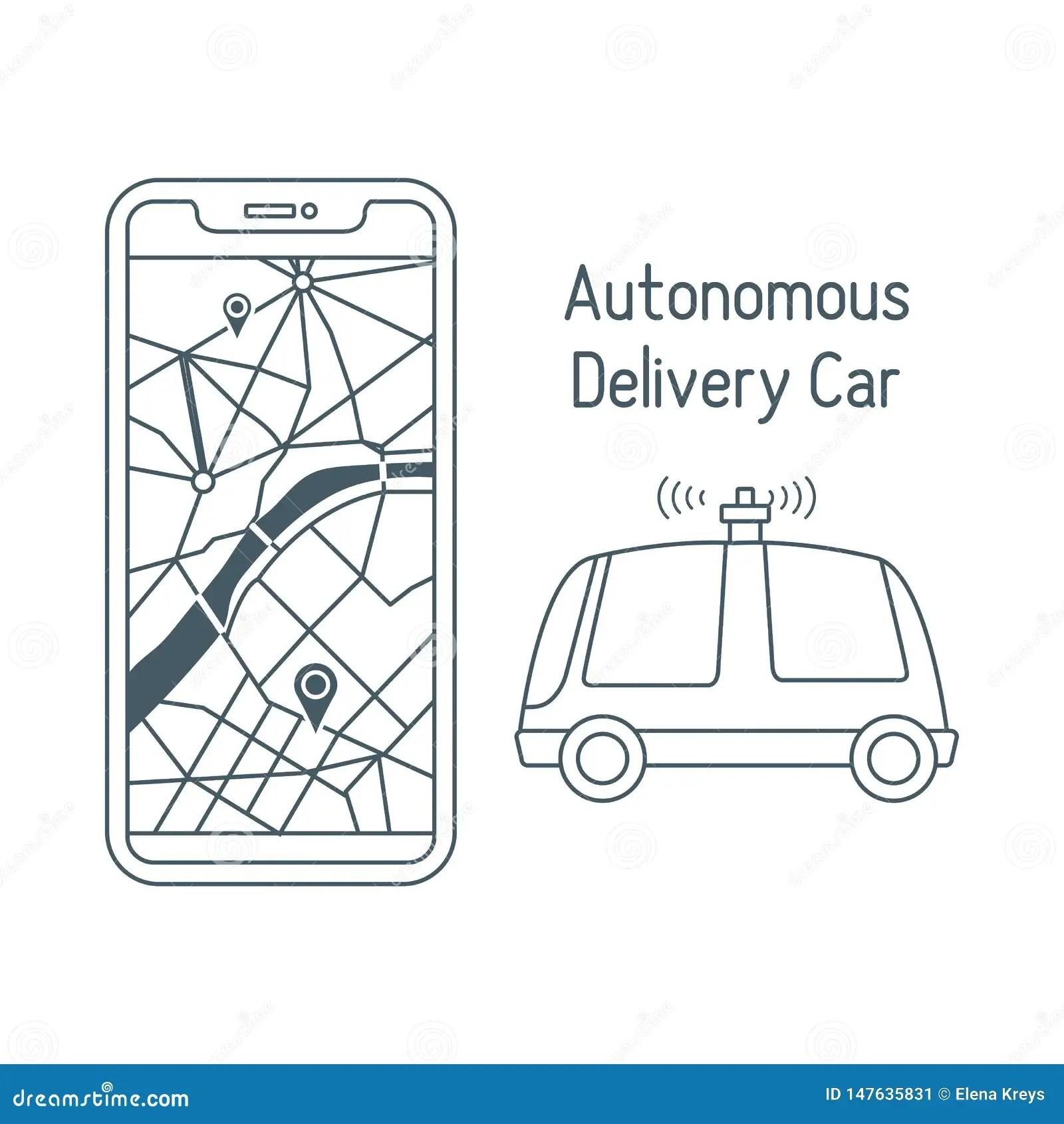 Autonomous Delivery Car Navigation Remote Control Stock