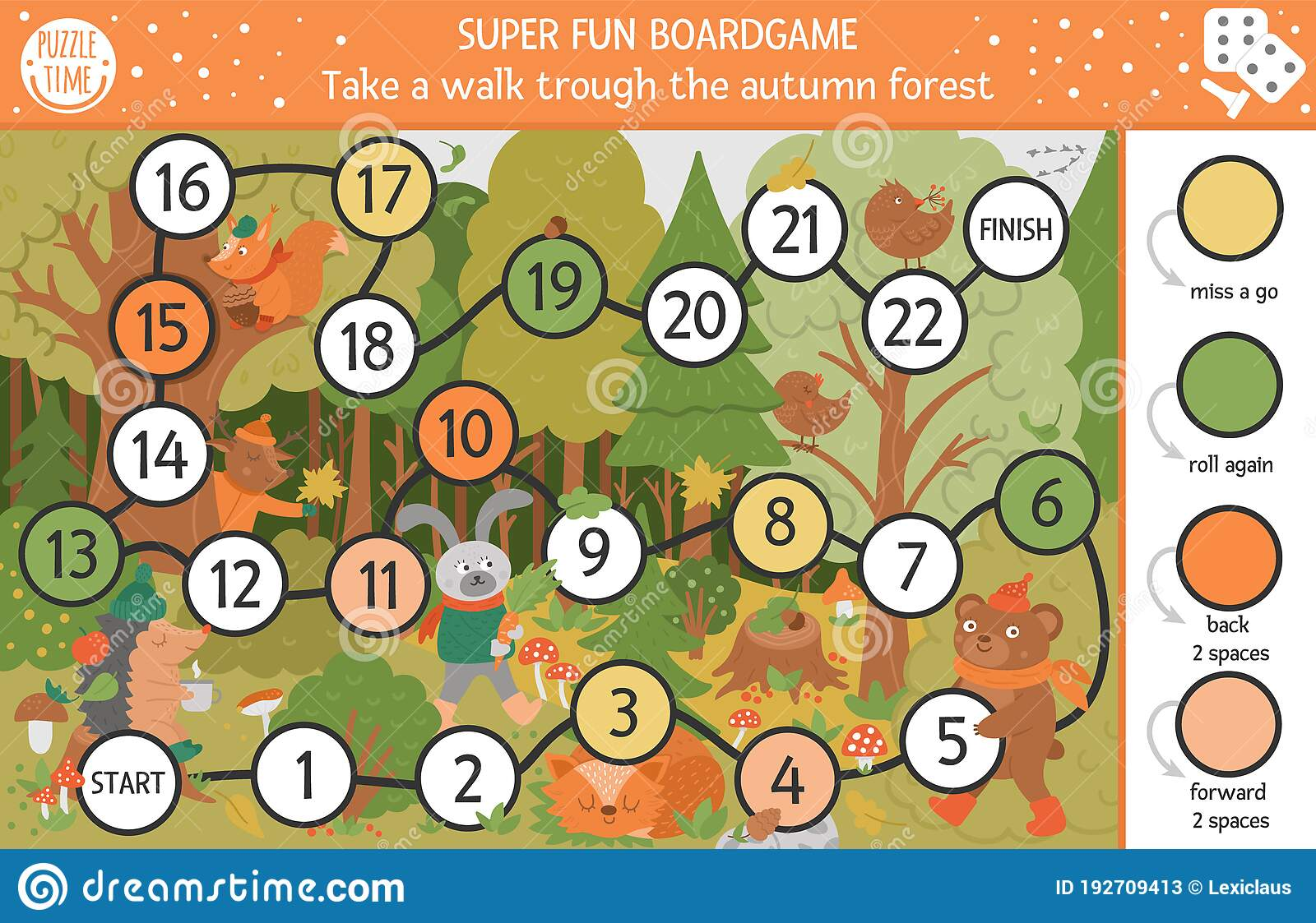 Autumn Board Game For Children With Cute Woodland Animals